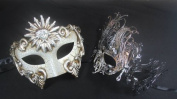 Masquerade Couples Venetian Elegantly Design Masks - 2 Piece Silver Coloured Set