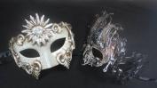 Masquerade Couples Venetian Elegantly Design Masks - 2 Piece Silver Coloured Set