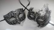 Masquerade Couples Venetian Elegantly Designed Impression Masks - 2 Piece Black Coloured Set