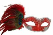 Masquerade Peacock Feather Collection - Silver Glitter Venetian Masquerade Mardi Gras Prom Mask