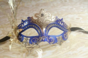 Mysterious Blue and Gold Laser Cut Venetian Swan w/ Side Flower Design Masquerade Mask for Mardi Gras Or Halloween