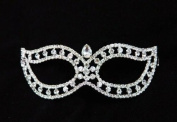 Mysterious Laser Cut Venetian Design Masquerade Mask - Decorated with Gem Crystals