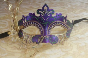 Mysterious Purple and Gold Laser Cut Venetian Swan w/ Side Flower Design Masquerade Mask for Mardi Gras Or Halloween