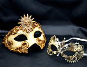 New Couple Lover Mask Gold Sun God + Gold Extravagant Mardi Gras Venetian Halloween Ball Prom Masquerade Mask