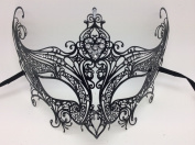 New Luxury Black Queen Masquerade Mask Venetian Design Masks Silver Coloured Perfect for Mardi Gras Party Halloween Ball Prom