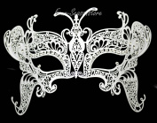New Magical Butterfly Mask Laser Cut Venetian Halloween Masquerade Mask Costume Extravagant Inspire Design - White