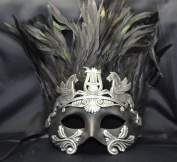 NEW Mens Mythological Silver/black Hercules with Feather Greek Style Party Mask Mens Mythological Greek Style Party Mask Mardi Gras Majestic Party Halloween Ball Prom