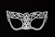 New Mysterious White Laser Cut Venetian Fox Impression Masquerade Mask for Mardi Gras Or Halloween - Decorated with Sparkling Gem Crystals
