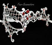 New Women Metal Phantom Mask Laser Cut Venetian Halloween Masquerade Mask Costume Extravagant Inspire Design - White w/ Red Rhinestones
