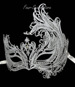 New Women Phoenix Mask Laser Cut Venetian Halloween Masquerade Mask Costume Extravagant Inspire Design - White
