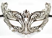 New Women Stunning Mask Laser Cut Venetian Halloween Masquerade Mask Costume Extravagant Inspire Design - Rose Chrome