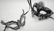 Roman Greek Black and Goddess Set - His & Hers Exotic Masquerade Masks [Antique Black Themed] - New Year's Eve, Mardi Gras Theatre