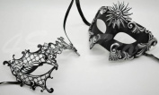 Roman Greek Black and Goddess Set - His & Hers Phantom Masquerade Masks [Antique Black Themed] - New Year's Eve, Mardi Gras Theatre