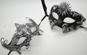 Roman Greek Black and Goddess Set - His & Hers Queen Masquerade Masks [Antique Black Themed] - New Year's Eve, Mardi Gras Theatre