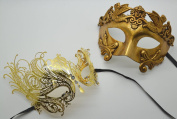 Roman Greek God and Elegant Goddess Set - His & Hers Masquerade Masks [Antique Gold Themed] - New Year's Eve, Mardi Gras Theatre