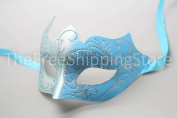 Silver and Baby Blue Laser Cut Venetian Mardi Gras Masquerade Mask with Sparkling Glitters