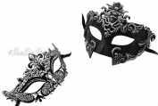 Silver Madusa & Luxury - His & Hers Masquerade Couples Venetian Design Masks 2 Piece Coloured Set - Perfect Couple Mardi Gras Majestic Party Halloween Ball Prom