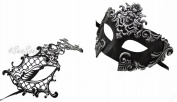 Silver Madusa & Metal Phantom - His & Hers Masquerade Couples Venetian Design Masks 2 Piece Coloured Set - Perfect Couple Mardi Gras Majestic Party Halloween Ball Prom