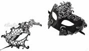 Silver Madusa & Metal Phantom - His & Hers Masquerade Couples Venetian Design Masks 2 Piece Coloured Set - Perfect Couple Mardi Gras Majestic Party Halloween Ball Prom