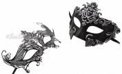 Silver Madusa & Queen- His & Hers Masquerade Couples Venetian Design Masks 2 Piece Coloured Set - Perfect Couple Mardi Gras Majestic Party Halloween Ball Prom