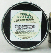 Herbal Foot Salve - Large 120ml Tin of Botanical Foot Balm - Infused Herbs of Mullein, Plantain, Jewelweed, Red Clover, Sheeps Sorrel, St Johns Wort, Calendula, Arnica, Yarrow, Heal-all with Aromatics of Lavender, Tea Tree, Peppermint, Eucalyptus, Marj ..