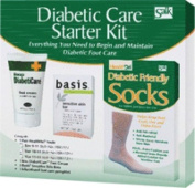 Salk Company Diabetic Foot Care Starter Kit with 13 to 15 Size Socks, Basis Sensitive Skin Bar Soap, DiabetiCare Foot Cream