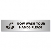 Stewart Superior Wash Hands Sign Brushed Aluminium Acrylic 190x45mm Ref Bac123