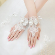 Exquisite Fingerless Rhinestone and Bowknot Bridal Lace Gloves