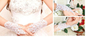 Lace and Sequins Ivory Fingerless Bridal Wedding Gloves