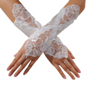 Sexy Fingerless Pearl Lace Satin Gloves Bride Wedding Party Costume