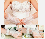 Tulle Lace and Rhinestone Fingerless Bridal Gloves Formal Gloves