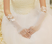 Exquisite Bowknot Bridal Lace Gloves