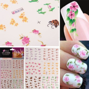 3D Colourful Flower Nail Art Stickers Water Transfer Nail Stickers