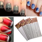 3D White & Black Lace Water Nail Art Transfer Sticker DIY Nial Tips