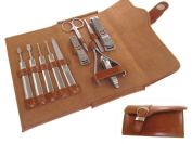 GAGA New 11 in1 New Unisex Women Men Manicure Grooming Set Kit Nail Clipper Luxury Genuine Brown Leather Case Groom & travelling Kit