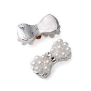 10pc Silver Plated Alloy 3d Rhinestone Pearl Nail Art Tip Glitter Decoration DIY