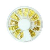 12 Shapes 3D Nail Art Gold Metal DIY Sticker Design Wheel