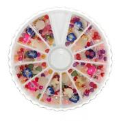 Pearl Nail Art UV Acrylic Tips Rhinestone Glitters Decoration Wheel