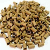 200 PCS 3.5mm Light Brown Colour Copper Tubes Beads Locks Micro Rings for I Stick Tip Human Hair Extensions