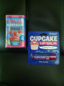 CUPCAKE Lovers Combo Gift Pack- Cupcake Bandaids & Cupcake Lip Balm