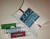 My Lip Stuff STOCKING STUFFER PACK (candy cane, gingerbread man, santa's milk & cookies) holiday gift natural lip balm set