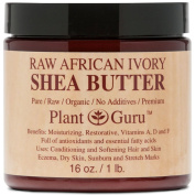 SHEA BUTTER - Plant Guru Premium Raw Unrefined Organic Ivory Shea Butter - Grade A From Africa - Natural Skin Care, Hair Care and Body Butters - Rich in Vitamins A & E - Use on Acne, Eczema, Stretch Marks, Rashes - Essential Ingredient for DIY Body But ..