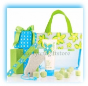 Mary Kay Deluxe 5 Pc Pedicure Set ~ Mint Blossom Cooling Foot Gel ~ Foot Bath Fizzies ~ Feet Shaped Pumice Stone ~ Lime Green & Turquoise Floral Nail File & Matching Toiletry Gift Bag