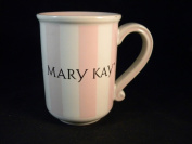 Mary Kay MK Signature Coffee Mug Set ~ Pink White Gold Scroll Handle Mug in Box with Bonus Travel Size Satin Hands Cream
