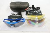 Blue Frame Outdoor Hunting Golf Fishing Hiking Sport Riding Skiing Uv400 Polarised Sunglasses Glasses 5 Lenses Case