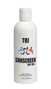 "240ml TRI Sunscreen SPF 30+ with Physical Broad Spectrum Zinc Oxide, Rubs in Clear, 80 min water resistant. Zinc Oxide Acts like a Million Tiny Mirrors Reflecting Both UVB and UVA Rays before they enter your skin. ""Fragrance Free"" Made In USA. Leaves N .."