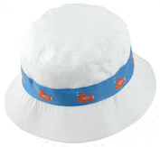 White Bucket Hat with Decorative Submarine Taping Around the Crown - Boys