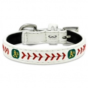 MLB Oakland Athletics Classic Leather Baseball Dog Collar