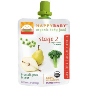 HappyBaby - Organic Baby Food Stage 2 Meals Ages 6+ Months Broccoli, Peas & Pear - 100ml