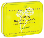 Natural Patches of Vermont - Soothing Migraine Formula Essential Oil Body Patches Chamomile - 10 Patch